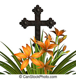 Cross With Lilies - Bronze cross with orange day lilies.