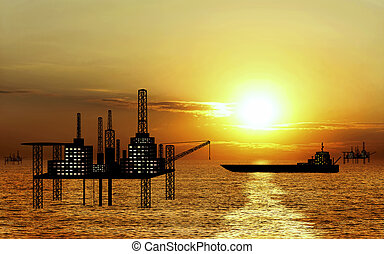 oil platform and oil tanker on sunset