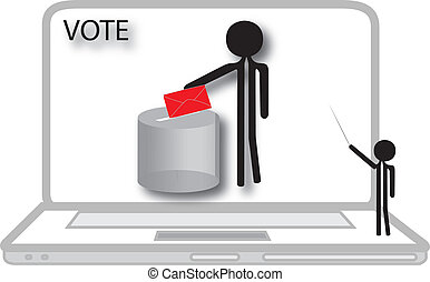 man voting on computer