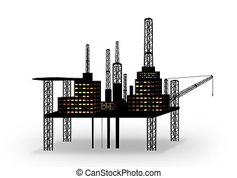 oil platform silhouette - oil platform isolated on white...