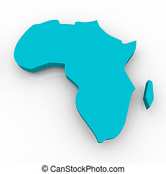 Map of Africa - Blue - A blue map of Africa on a white...