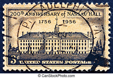Postage stamp USA 1956 Nassau Hall, Princeton, New York -...