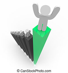 Standing Atop Green Bar Graph - One figure stands atop the...