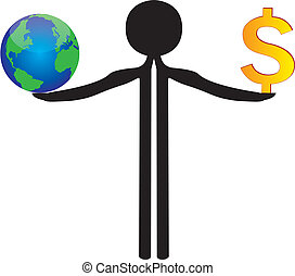 balance between world and money