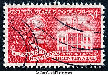 Postage stamp USA 1957 Alexander Hamilton and Federal Hall -...