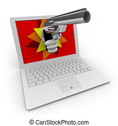 Online Theft / Robbery - A hand with a gun erupts from a...