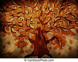 Grunge autumn oak tree - Grunge illustration of big oak tree...