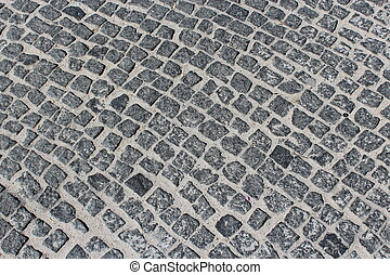 covering of road made from stone blocks - image of...