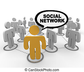 Social Network - Speech Bubble - A social network depicted...