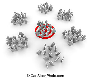 Targeting a Niche Group - One group of customers standing on...