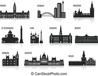 Silhouettes of cities. Set for you design