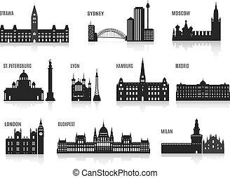 silhouettes, villes