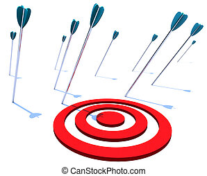 Missing the Target - Many arrows miss their intended target,...