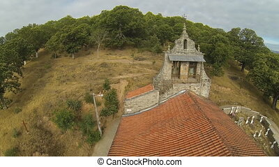 Romanic Church Belfry - Aerial view of romanic church belfry...