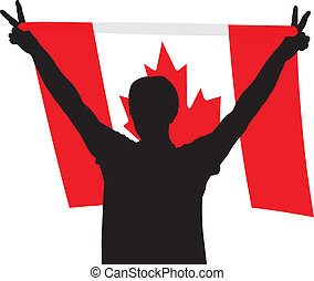 Man with flag of Canada - vector illustratin athletes, fans...