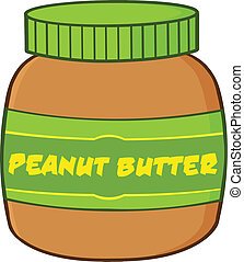 Peanut Butter Jar Cartoon Illustration