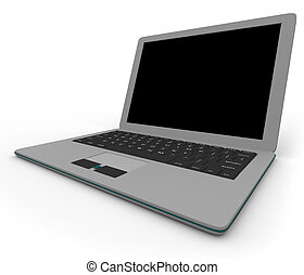 Gray Laptop Computer - On Angle - Right
