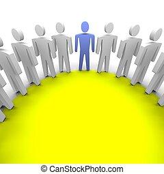 Work group / session illustration. 3D rendered image.