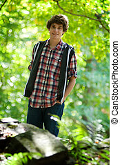 teen boy outdoors