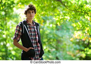 teen boy outdoors