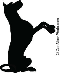 stock vector of dog silhouette standing on hind legs in...