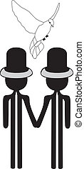 gay wedding with dove - gay couple wedding card with white...