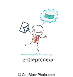 entrepreneur running with a briefcase and thinks about money