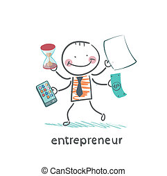 entrepreneur holding a calculator, money, hourglass,...