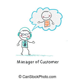 Manager of Customer talking on headphones with the client
