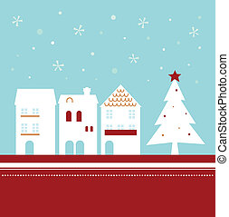Xmas town on snowing background ( vector ) - Winter...