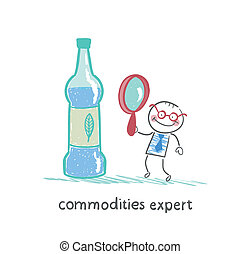 commodities expert with a magnifying glass looking at the bottle