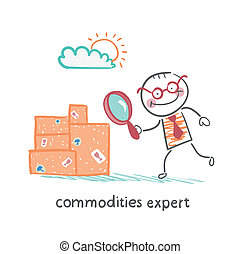 commodities expert  with a magnifying glass looking at the boxes with the goods
