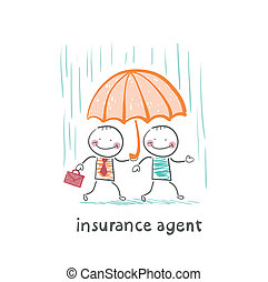 insurance agent protects a person from the rain umbrella