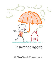 insurance agent is holding an umbrella over the house