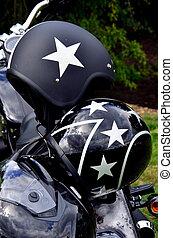 motor, ciclo, cascos