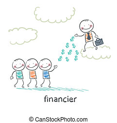 financier stands on a cloud and throws money to the people