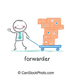 forwarder carries a wheelbarrow with boxes of goods