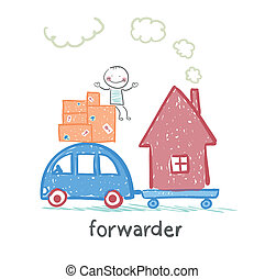 forwarder rides on a machine that carries boxes with the goods and home