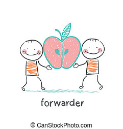 forwarder is holding an apple