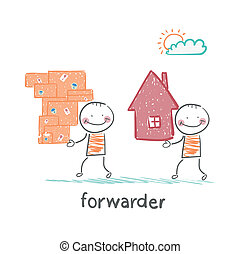 forwarder carries a box with the goods and home