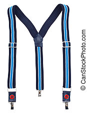 New suspenders - New blue suspenders isolated on white...