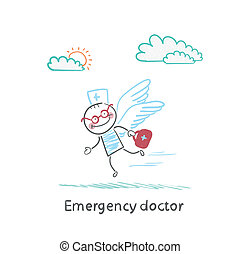 Emergency doctor is flying with wings