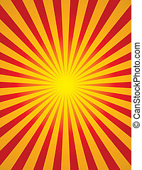 Radial Sun Burst (Star Burst) - Bright yellow and red radial...