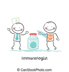 immunologist giving pills to a patient with thermometer