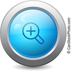 Zoom in web button - 3d blue round web button with zoom in...