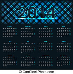 2014 calendar - Calendar for 2014 year with blue chechered...