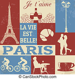 Paris Symbols Poster - Retro Style Poster With Paris...
