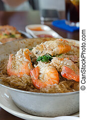 asian cuisine - close up asian food, baked prawn with...