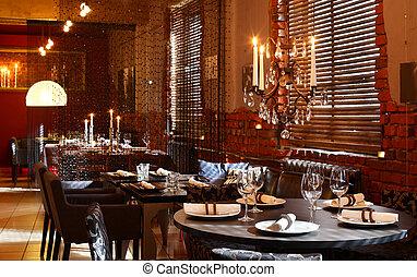 lujo, restaurante, europeo, estilo
