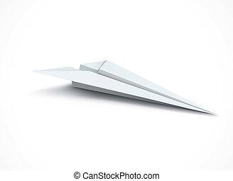White paper plane. Vector